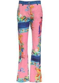 Versace Vessel Print Cotton Denim Loose Jeans