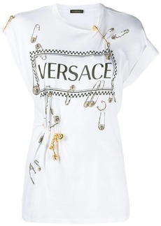 Versace vintage logo safety pin T-shirt