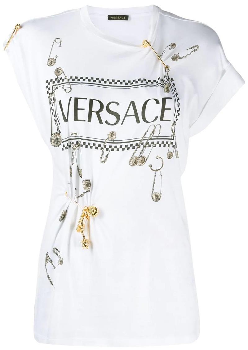 Versace vintage logo safety pin T-shirt