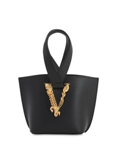 Versace Virtus Leather Top Handle Bag