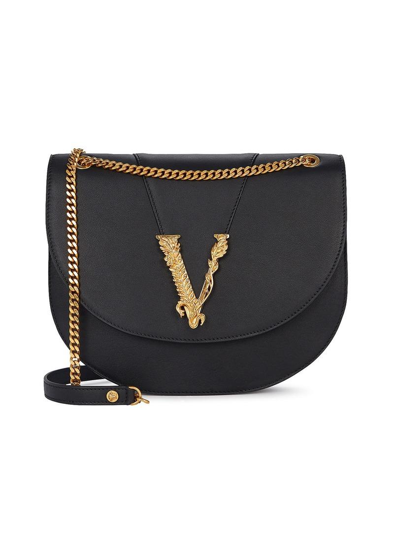 Versace Virtus Logo Leather Shoulder Bag
