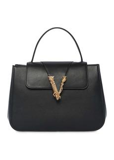 Versace Virtus Smooth Leather Top Handle Bag