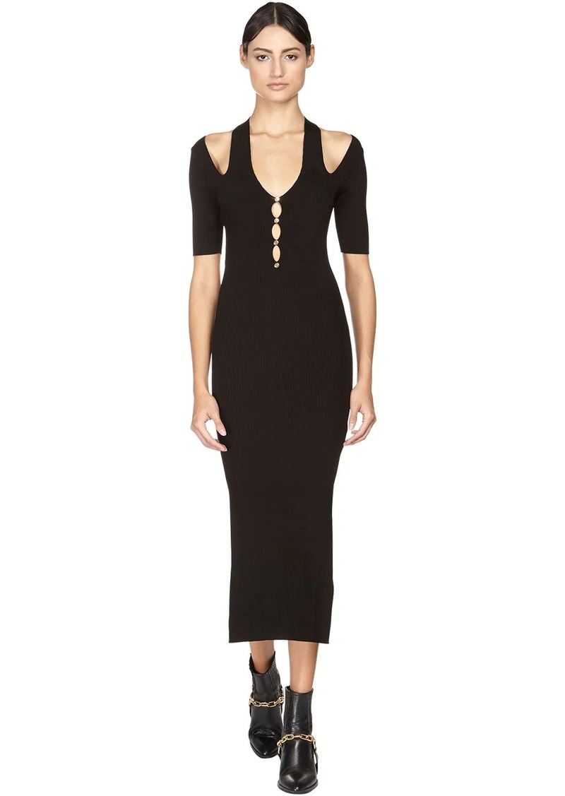 Versace Viscose Blend Rib Knit Midi Dress