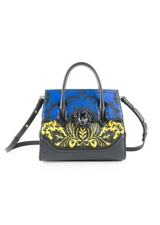 Versace Vitello Floral Leather Top Handle Bag