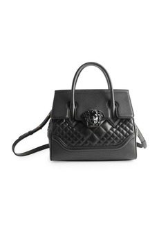 Versace Vitello Quilted Leather Top Handle Bag