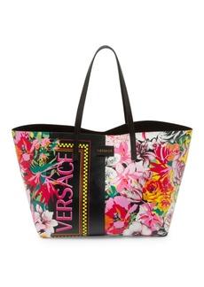 Versace Vitello Stampa Fiori Leather Tote Bag