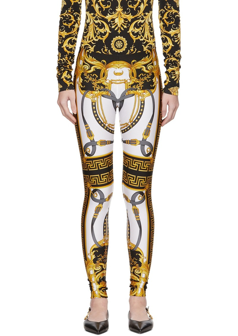 Versace White & Black Rodeo Barocco Leggings