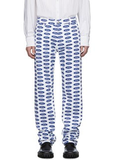 Versace White & Blue Ford Edition Logo Jeans