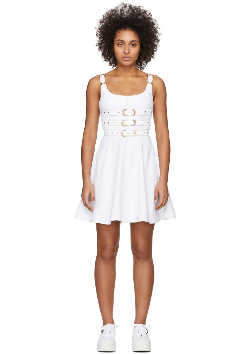 Versace White Denim Buckles Dress