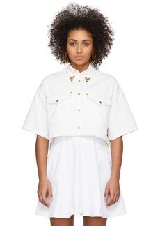 Versace White Denim Cropped Shirt