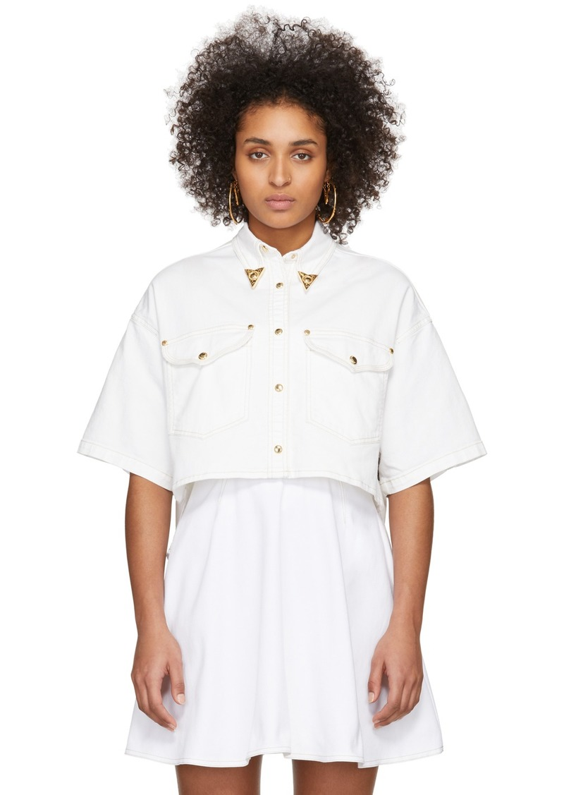 Versace White Denim Cropped Shirt