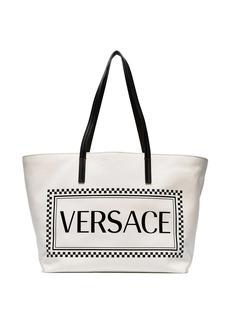 Versace white logo-print tote bag