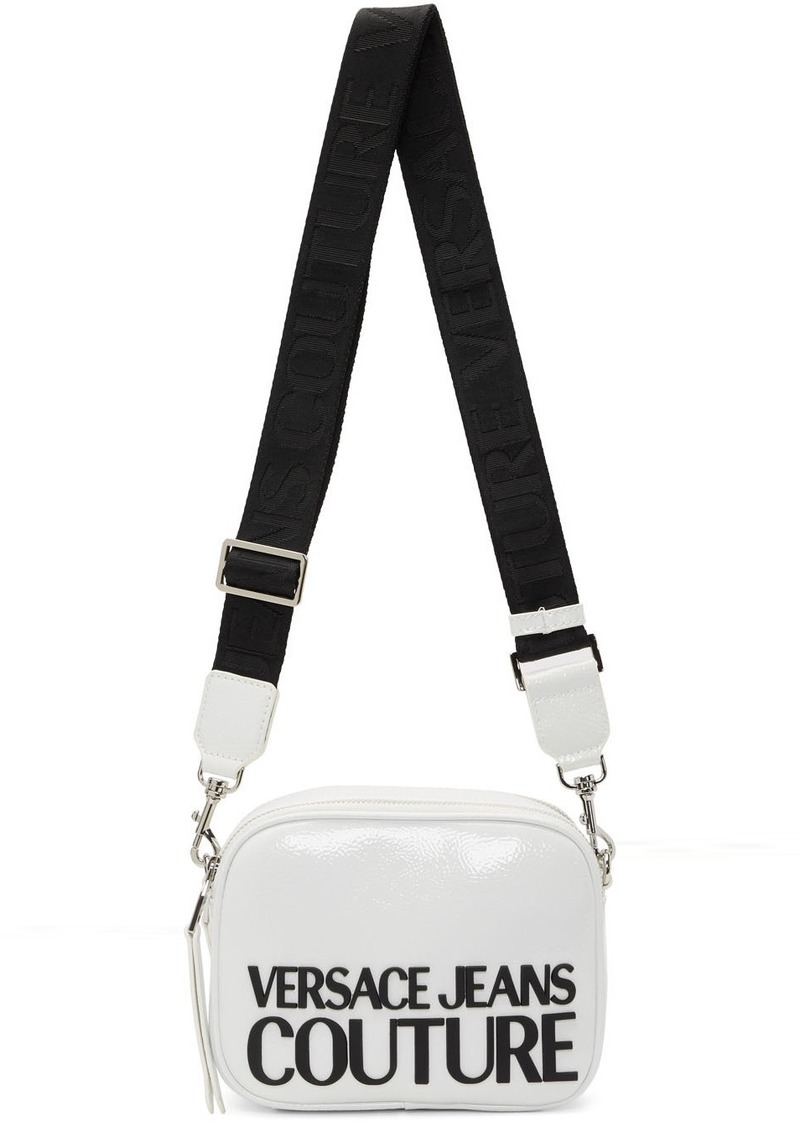 Versace White Shiny Logo Camera Bag