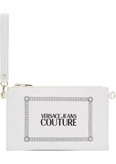 Versace White Stamped Logo Pouch
