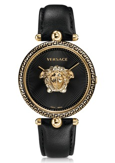 Versace Women's Palazzo Empire Black Leather Watch, 39mm