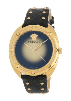 Versace Women's Shadov Snake Embossed Leather Strap Watch, 38mm