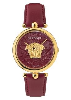Women's Versace Barocco Leather Strap Watch