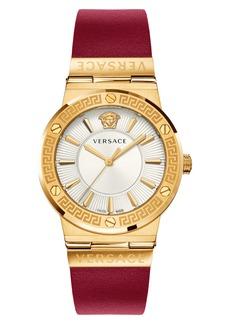 Women's Versace Greca Logo Leather Strap Watch
