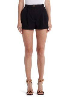 Women's Versace Medusa Button Pleated Stretch Wool Shorts