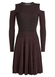 Versace Wool Cold-Shoulder Dress with Metallic Thread