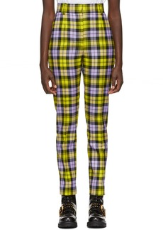 Versace Yellow & Purple Cropped Plaid Trousers