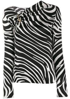 Versace zebra print asymmetric blouse