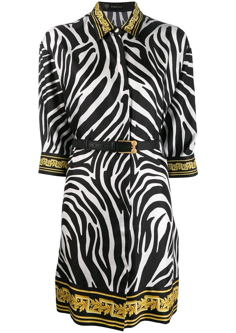 Versace zebra print shirt dress