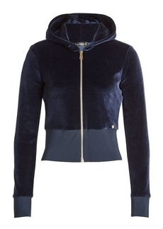 Versace Zipped Velvet Jacket with Hood