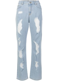 Versus distressed boot-cut jeans