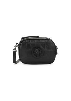 Versus Lion Logo Croc-Embossed Leather Crossbody Bag