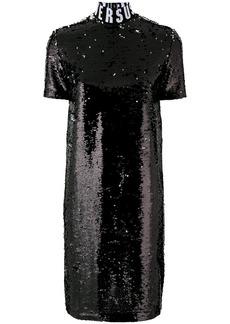 Versus logo neck sequined dress