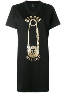 Versus safety pin logo print T-shirt dress