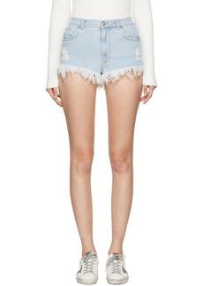 Versus Blue Denim Fringed Shorts