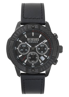 VERSUS Versace Admiralty Chronograph Leather Strap Watch, 44mm