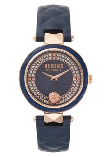 VERSUS Versace Covent Garden Crystal Accent Leather Strap Watch, 36mm