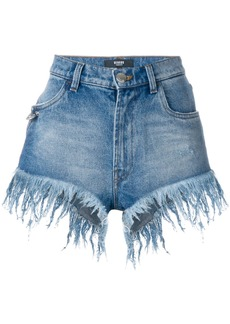 Versus frayed high-waisted shorts - Blue