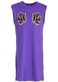 Versus Versace Woman Appliquéd Cotton-jersey Mini Dress Violet
