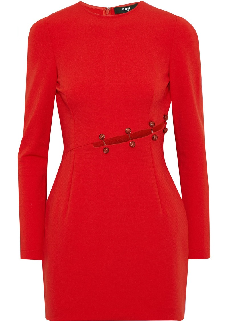 Versus Versace Woman Barbell-embellished Cutout Cady Mini Dress Red