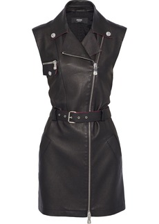 Versus Versace Woman Belted Textured-leather And Jersey Mini Dress Black