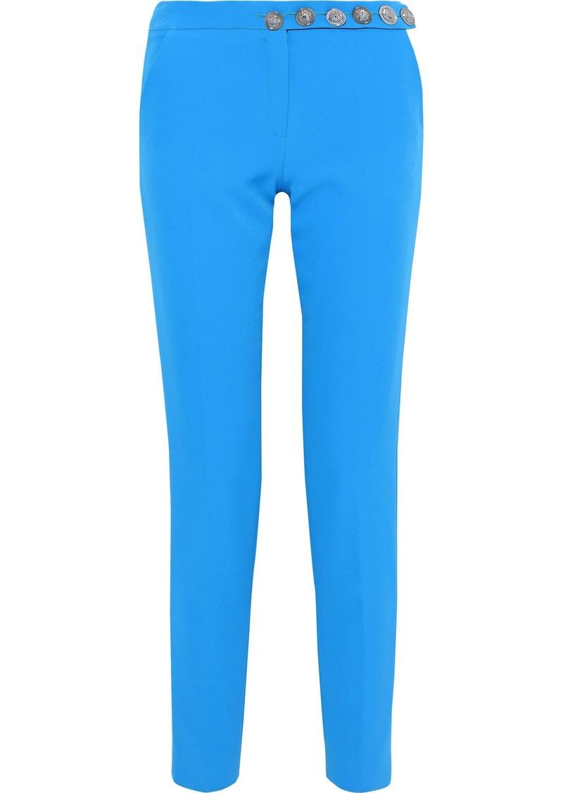 Versus Versace Woman Button-detailed Crepe Slim-leg Pants Blue