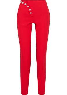 Versus Versace Woman Button-detailed Crepe Slim-leg Pants Tomato Red