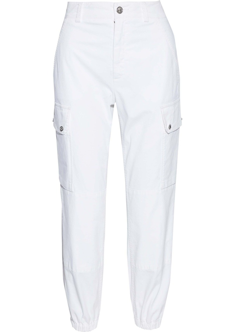 Versus Versace Woman Cropped Cotton-twill Tapered Pants White