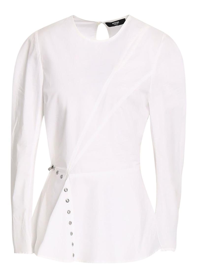 Versus Versace Woman Cutout Embellished Cotton-poplin Peplum Top White