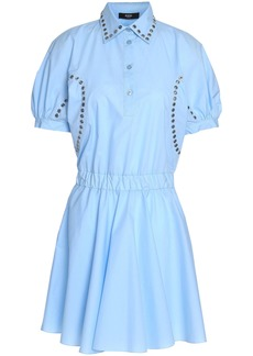 Versus Versace Woman Embellished Cotton-poplin Mini Shirt Dress Sky Blue