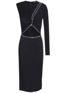 Versus Versace Woman Embellished Cutout Satin-crepe Dress Black