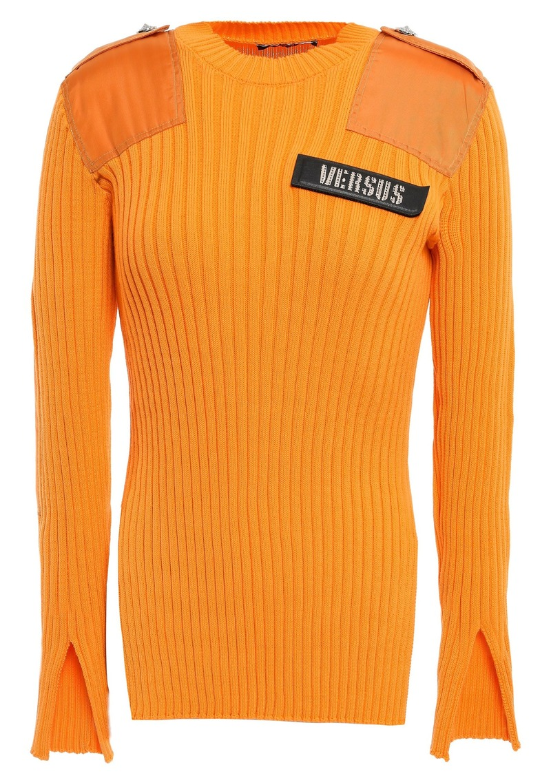 Versus Versace Woman Embellished Shell-paneled Ribbed Cotton Top Marigold