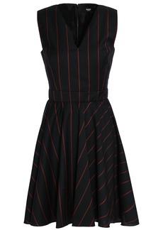 Versus Versace Woman Flared Striped Wool Mini Dress Black