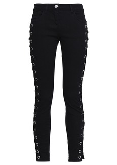 Versus Versace Woman Lace-up Mid-rise Skinny Jeans Black