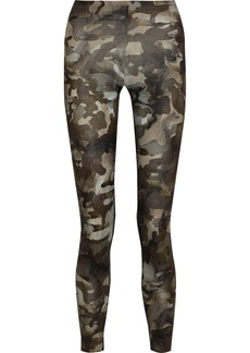 Versus Versace Woman Printed Cotton-blend Jersey Leggings Army Green