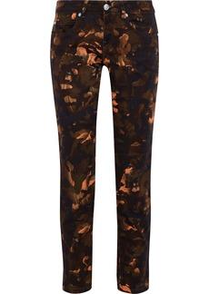 Versus Versace Woman Printed Low-rise Slim-leg Jeans Army Green